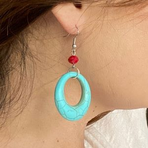 Turquoise Oval Drop Hoop Earrings